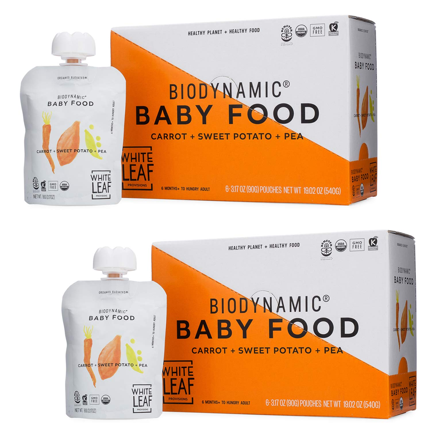 White Leaf Provisions' — 90g. 12 Pouches of Biodynamic Organic Baby Food Carrot + Sweet Potato + Pea — Unsweetened Baby Food — Healthy Snack Packs for Babies and Toddlers