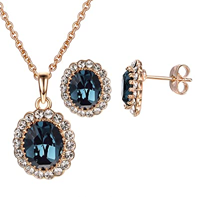 7763abaa3f686 vogem Princess Kate Style Sapphire Earrings and Necklace Set for Women 18K  Rose Gold Plated Jewelry