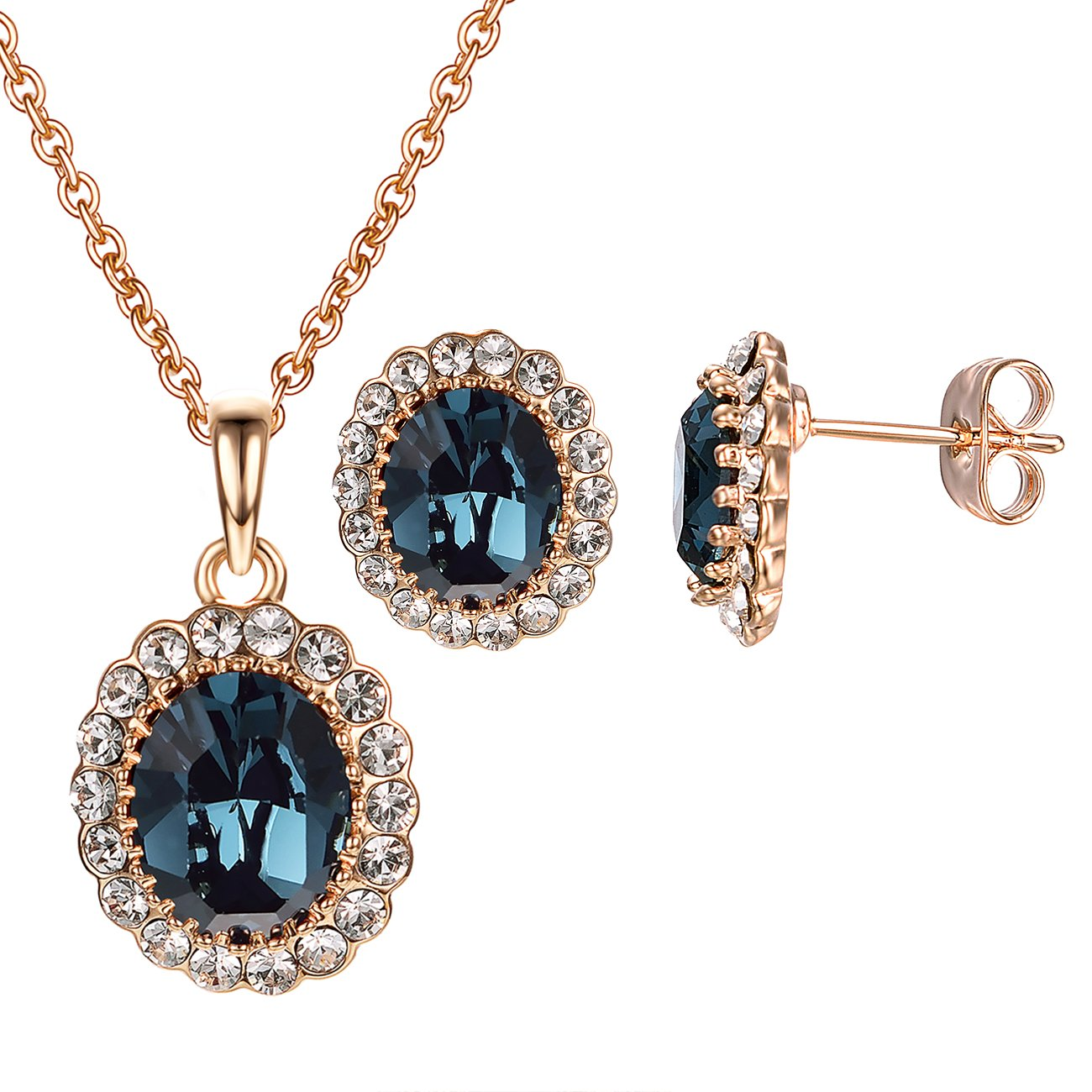 VOGEM Princess Kate Style Sapphire Jewelry Set 18K Rose Gold Plated Pendant Stud Earrings Sets for Ladies Women Girl