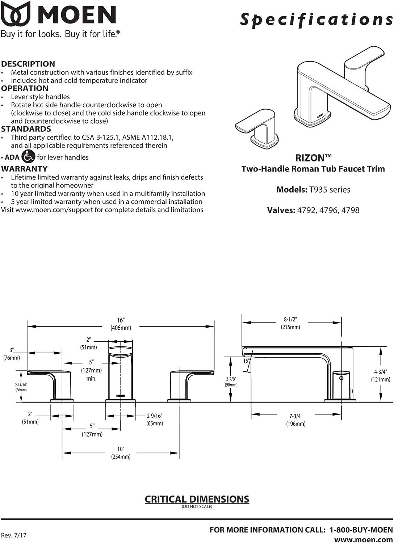 Valve Required Moen T935 Rizon Two-Handle Deck Mount Modern Roman Tub Faucet Trim Chrome