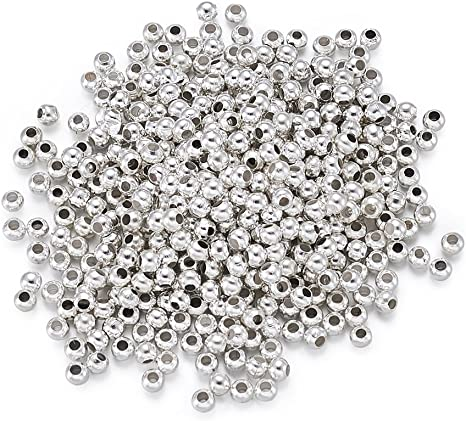 500PCs Silver Plated Smooth Ball Spacers Beads 4mm