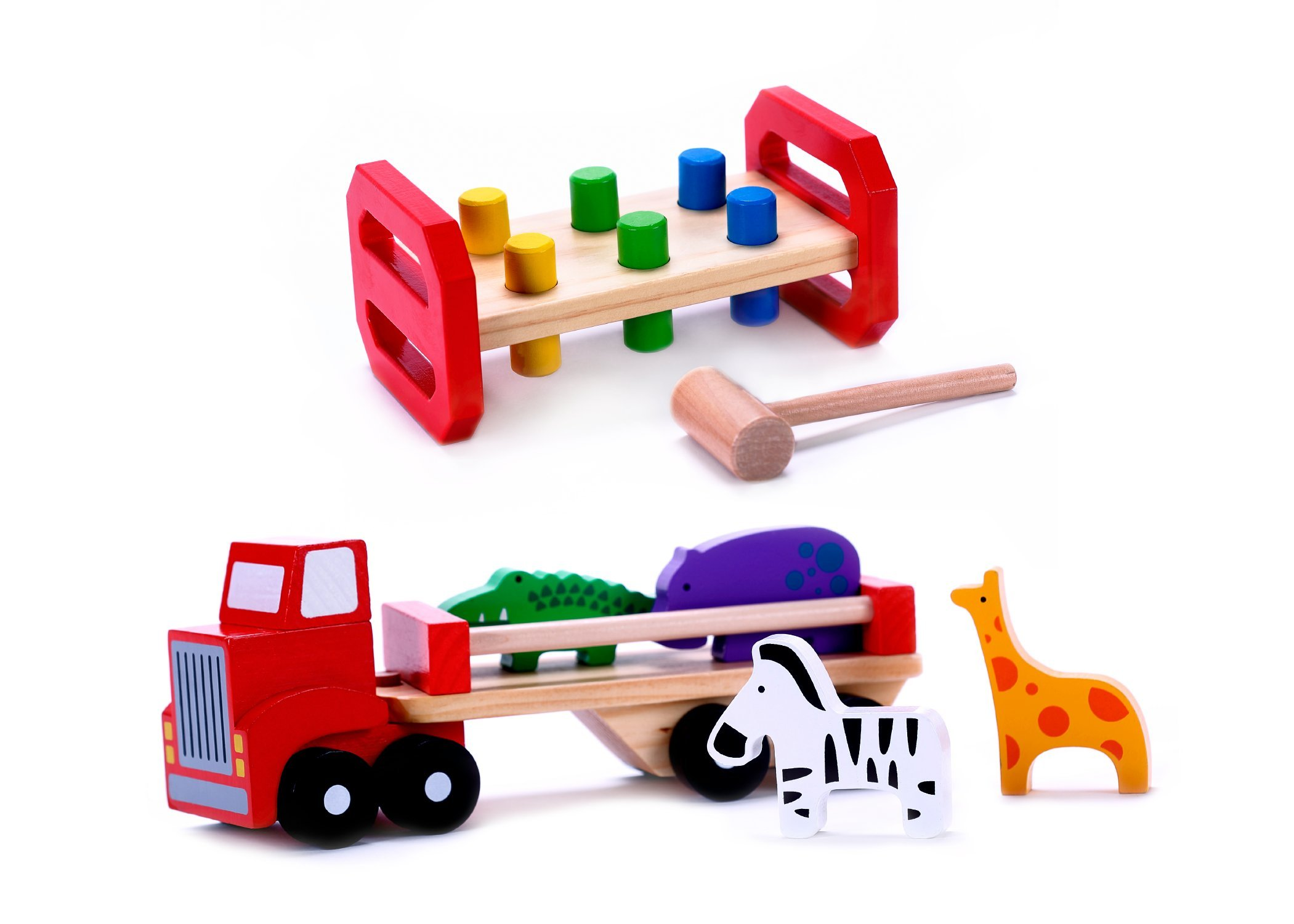 Cubbie Lee The Classic Wood Toy Bundle (Wooden Pounding Bench with Pegs & Animal Truck w/Detachable Trailer) for Toddlers, Preschool Age | Buy the Bundle & Save! | Great Gift for 2, 3 & 4 Year Olds
