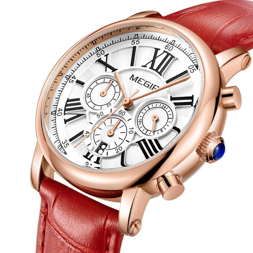 MEGIR Watches for Women Quartz Sport Chronograph Red Leather Strap Stylish Dress Wrist Watch