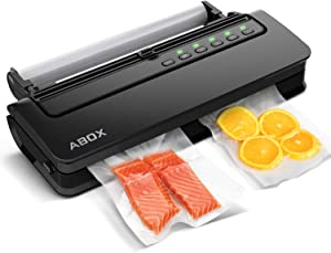 ABOX Vacuum Sealer Machine V63, Food Vacuum Air Sealing System for Food Saver Storage, with Built-in Cutter, Starter Kit Roll and Holder