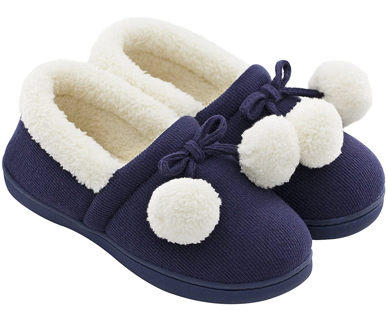 Women's Cozy Cute Fuzzy Knit Cotton Memory Foam House Shoes Slippers for Girls Teens with Pom Pom Decor Indoor Outdoor
