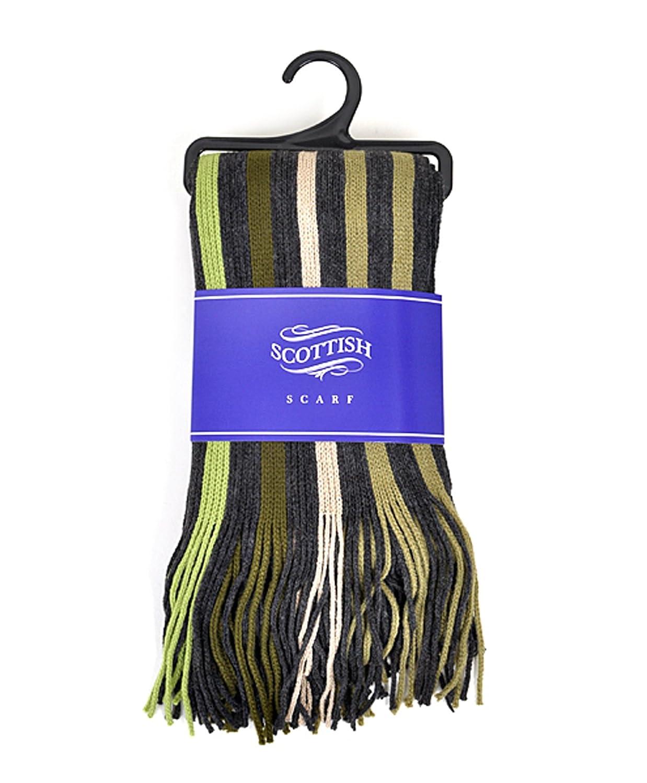 Scottish Mens Cozy Striped Scarf with Tassels-Black /& Green