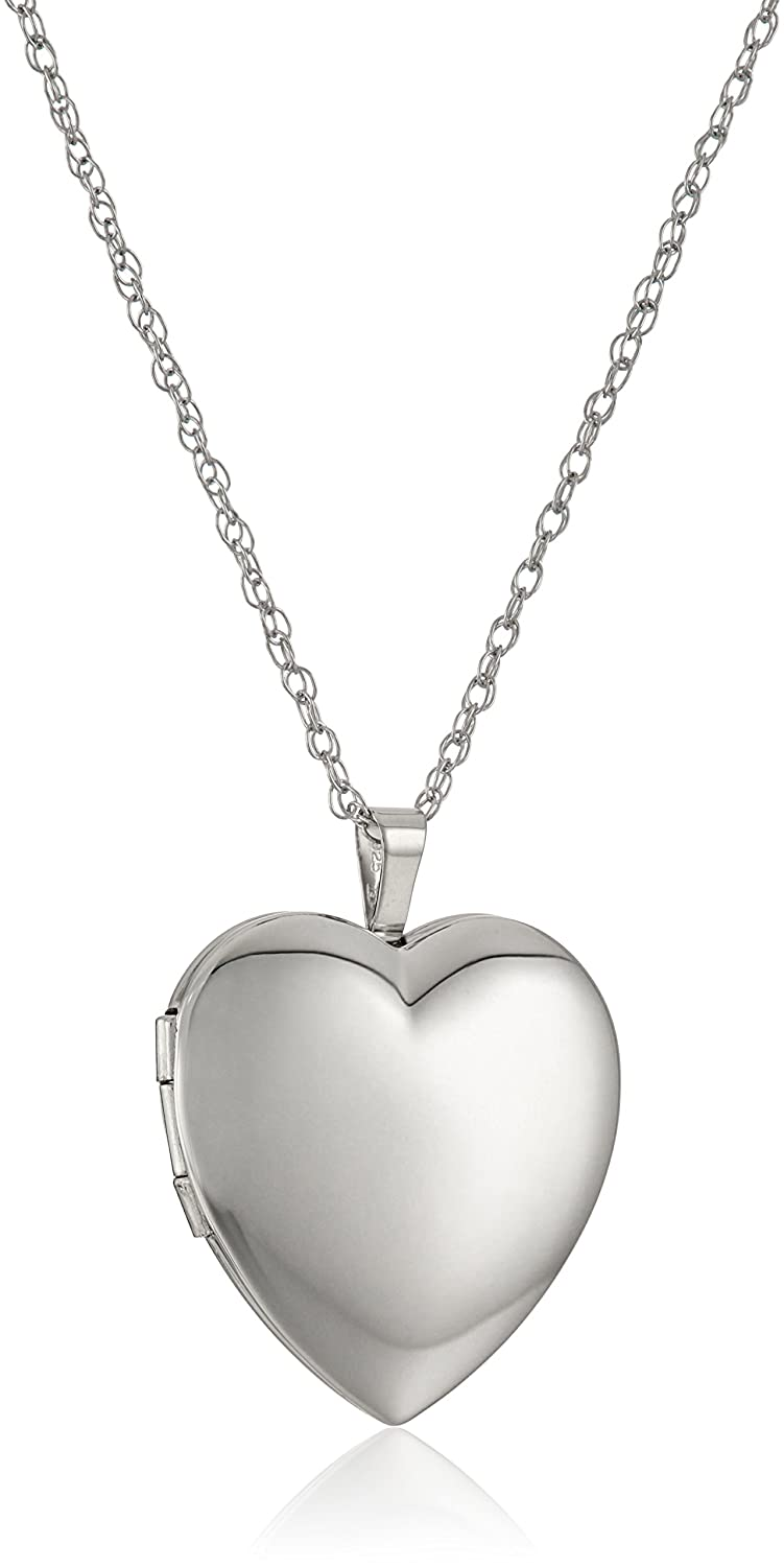 b501009d886 Amazon.com  Sterling Silver Large Polished Heart Locket Necklace