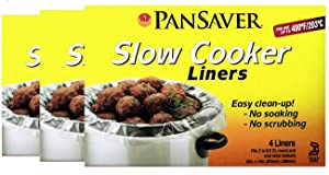 Pansaver Slow Cooker & MultiPurpose Liners, also Fits Baking Dishes and Roasters. 3 Box Bundle (12 Liners). Fits 3 to 6.5 Quart Oval and Round Slow Cookers.
