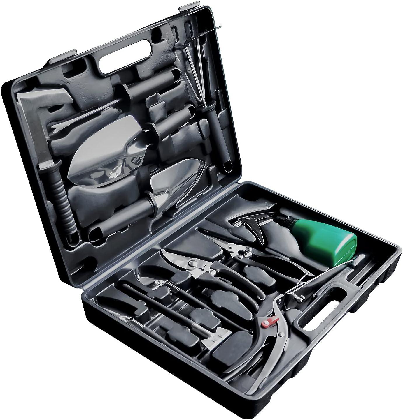 Garden Tool Set, 13 Piece Stainless Steel Heavy Duty Gardening Tool Set, Gardening Tools for Women/Men (Black)