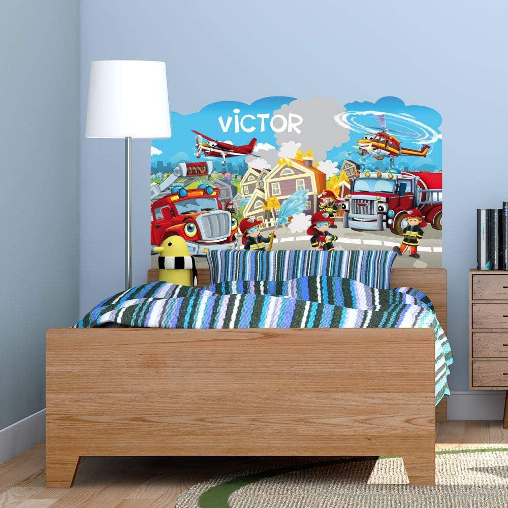 Dimensions 56 cm x 94 cm Sticker T/ête de Lit pour Chambre denfant Protection Anti-UV Les H/éros du Feu Personnalisable avec Le Pr/énom De Votre Enfant