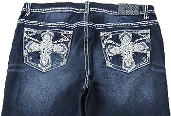 14033e2a117 Grace L.A. Idol Women Plus Bootcut Jeans Mid Rise Godness Cross Bold Whip  Stitch Stretch