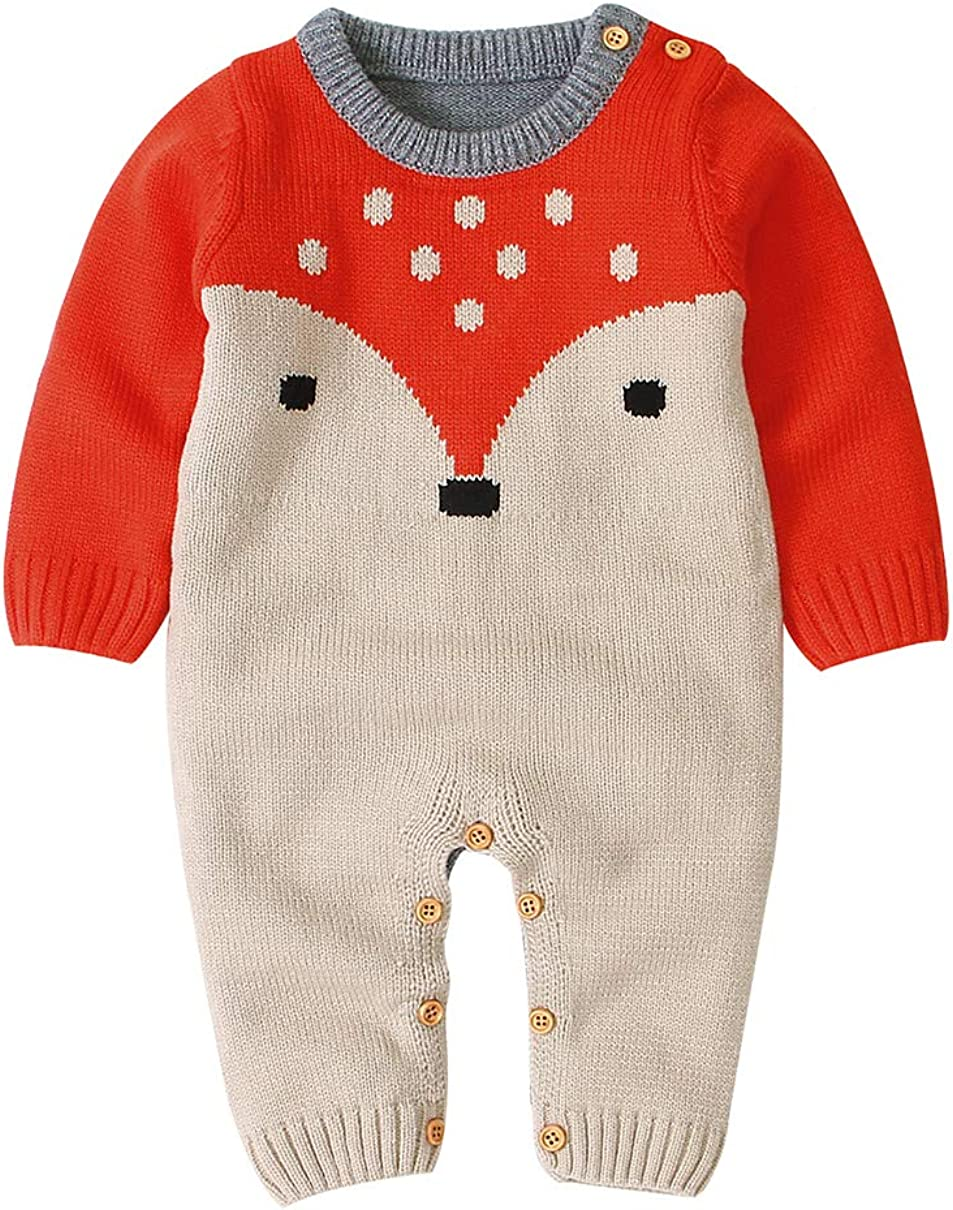 mimixiong Baby Weihnachts Spielanzug Gestrickte Rentieroverall Outfits