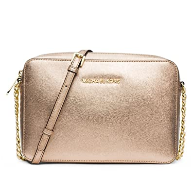 342ef1ca13da9 MICHAEL Michael Kors Women's Jet Set Metallic Cross Body Bag, Pale Gold,  One Size: Handbags: Amazon.com