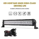 "Auxbeam 22"" LED Light Bar 120W LED Driving Light Off-Road Lights Spot Flood Combo Work Light Fog Lamp CREE Chips 5D Lens with Wiring Harness for SUV, ATV, UTV, Jeep, Vehicle, Pickup"