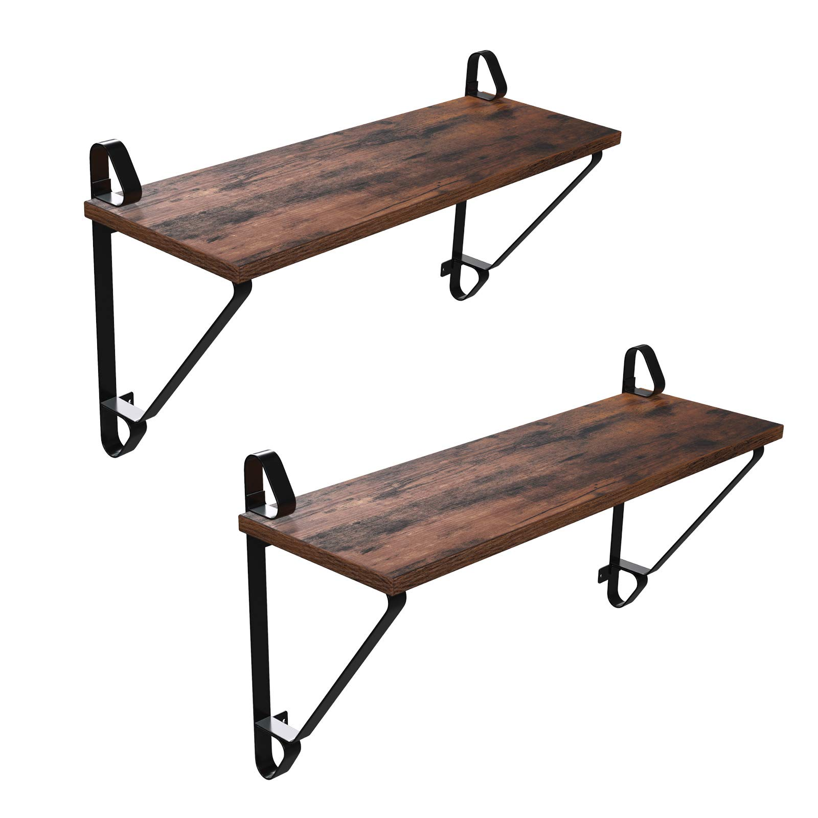 SONGMICS Vintage Floating Shelves, Set of 2 Wall Mounted shelf Wood Look Accent Furniture with Metal frame, for Hallway Entryway Living Room Bedroom Bathroom Kitchen ULCR01BX