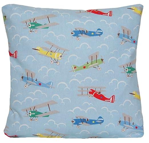 Almohada decorativa azul con patrón de aviones, almohadón ...
