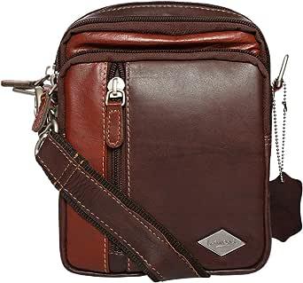 Laveri LC_2531-D/BRN_WG/ST Crossbody Bag - Unisex, Leather, Dark Brown