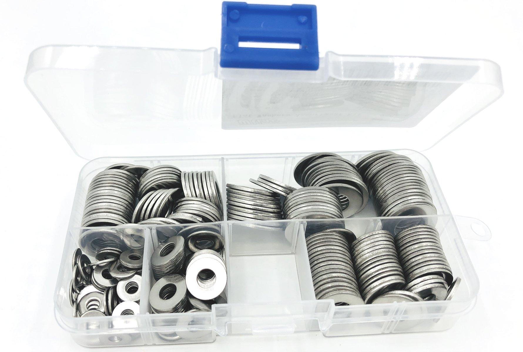 WLine 5 Sizes 3/8'' 5/16'' 1/4'' 10# 6#, 18-8 (304) Stainless Steel Flat Washers Assortment Kit, 250pcs