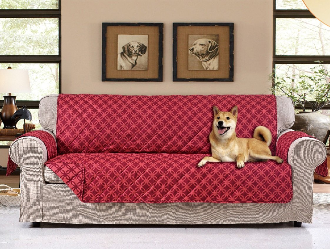 """American Home Reversible Slipcover Furniture Protector with Removable Elastic Strap - Protection from Soils, Spills, Stains and Pets - Wedding Ring (Sofa (124"""" x 70""""), Burgundy) by American Home"""