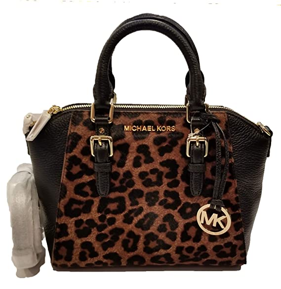 6431aa8f9a42 Amazon.com  MICHAEL Michael Kors Women s Ciara Medium Messenger Bag in Full  Top Grain Pebbled Leather and Leopard Print New Zealand Haircalf (Black)   ...
