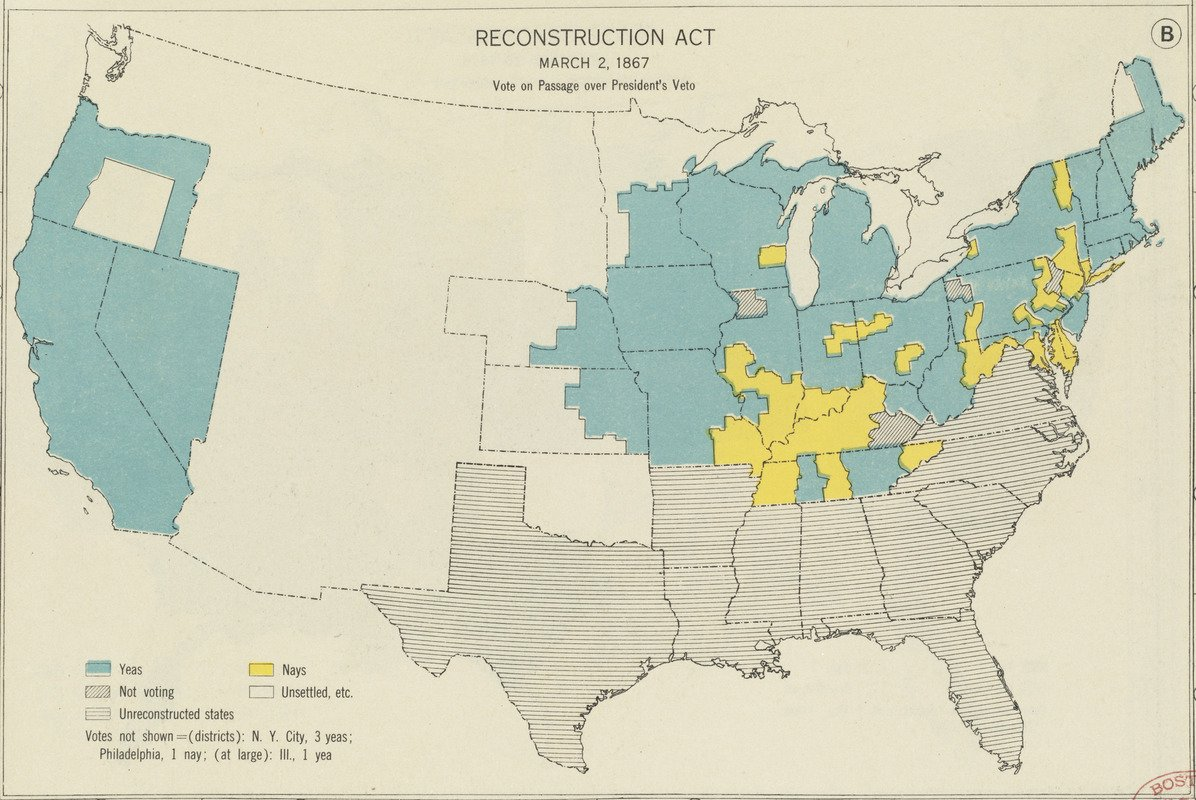 Historic Map   Reconstruction Act, March 2, 1867, Vote on passage over President's veto   Antique Vintage Reproduction