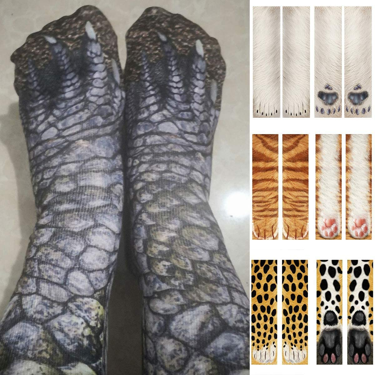 NCONCO Adulte Enfants 3D Animal Patte Chaussettes Chat Tigre Pieds Imprimer Pied /Équipage Chaussettes /Élastique Bonneterie