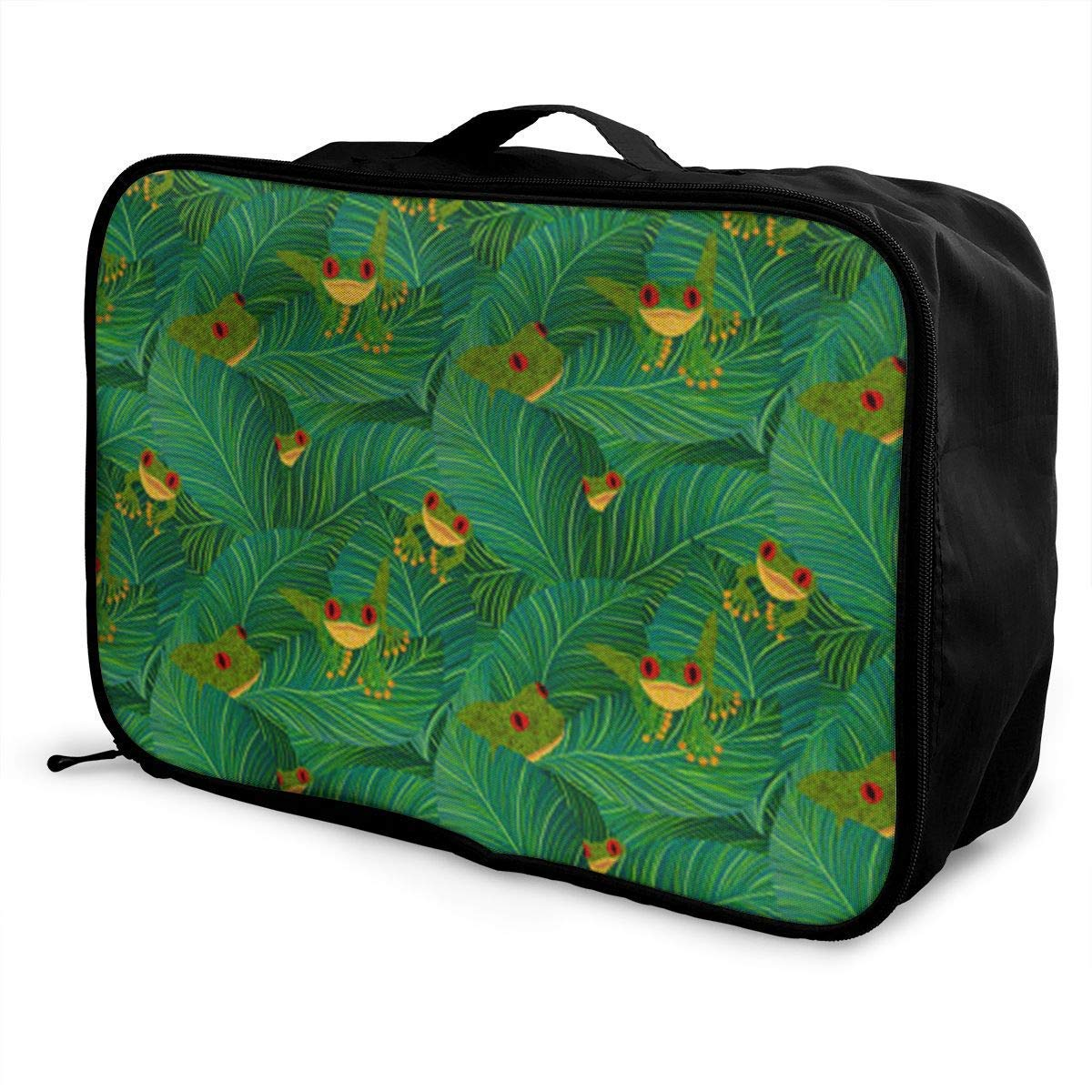 Portable Luggage Duffel Bag Tropical Tree Frog Travel Bags Carry-on in Trolley Handle JTRVW Luggage Bags for Travel