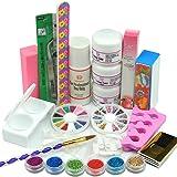 Coscelia Poudre Acrylique Liquide Ongles Forms Colle Brosse UV Paillette Design Kit