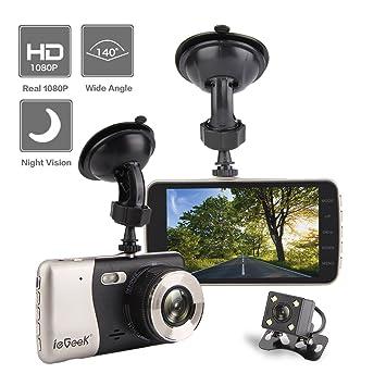 """ieGeek coche cámara FHD 1080p visión nocturna 140 ° gran angular 4 """"pantalla TFT"""