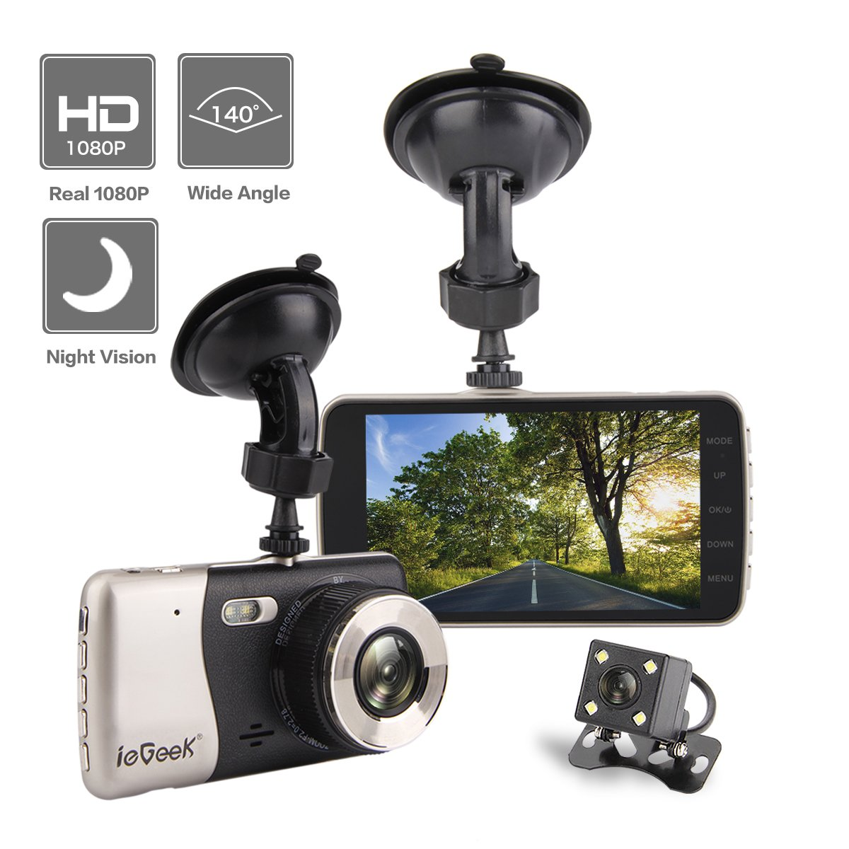 """ieGeek Car Camera FHD 1080P Night Vision 140°Wide Angle Dual Lens 4"""" TFT Screen DVR with WDR Loop Recording G-Sensor Motion Detection Parking Assistance"""
