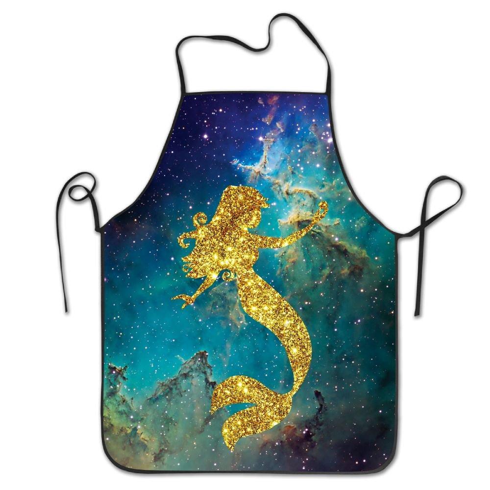 ゴールドマーメイドよだれかけエプロン大人用レディースユニセックス耐久性快適な洗濯可能for Cooking Bakingキッチンレストラン   B0774NL6GJ