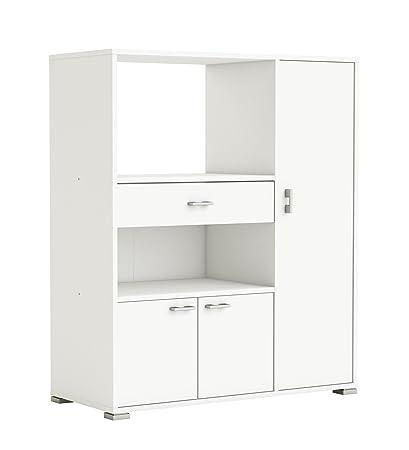 Mueble auxiliar para cocina con tres puertas y un cajon color blanco ...