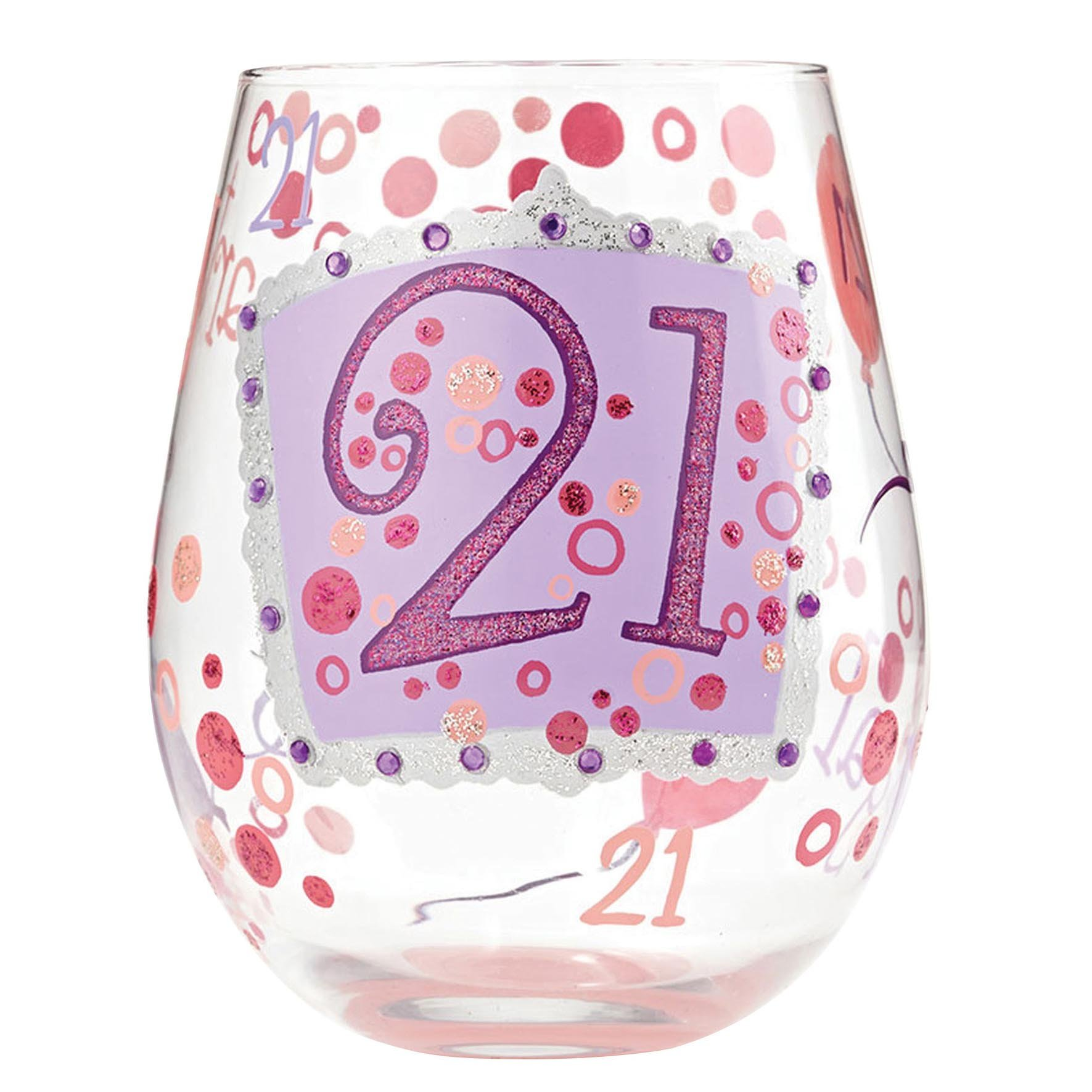 """Designs by Lolita """"21"""" Hand-painted Artisan Stemless Wine Glass, 20 oz."""