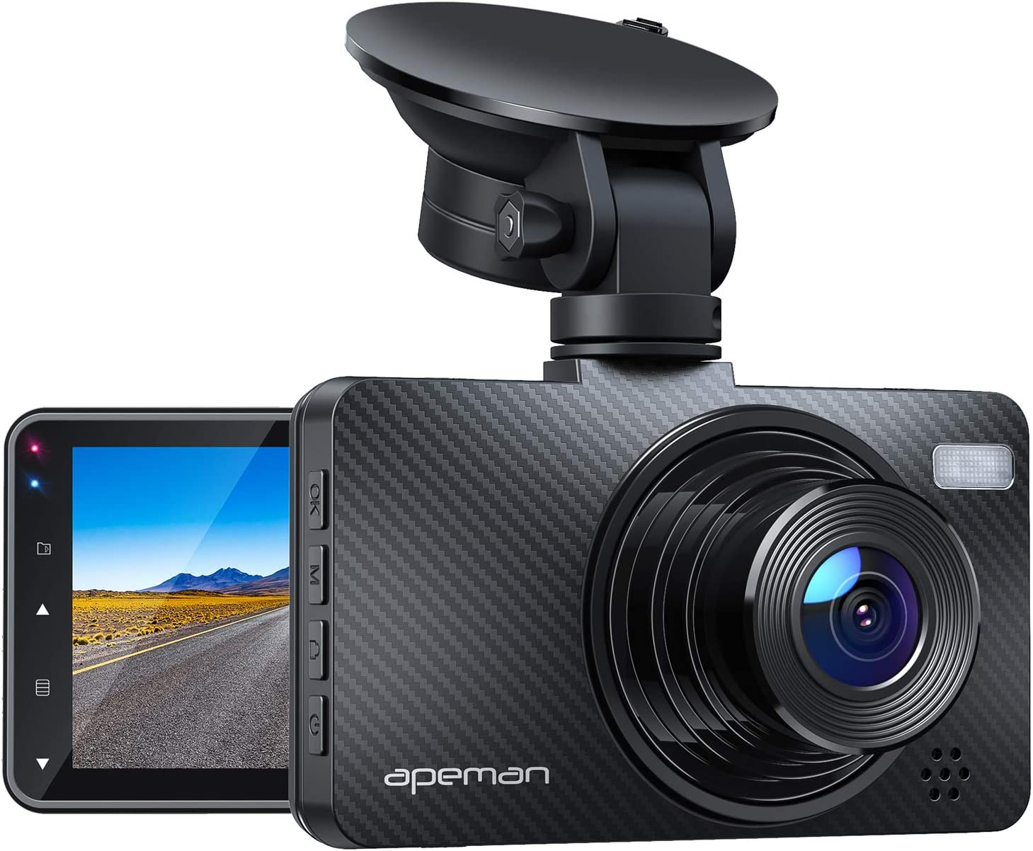 """APEMAN Dash Cam 1080P Car Camera with 3"""" LCD Screen, 170° Wide Angle, G-Sensor, WDR, Loop Recording, Motion Detection, Night Vision"""