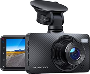 """APEMAN Dash Cam FHD 1080P Car Camera with 3"""" LCD Screen, 170° Wide Angel, G-Sensor, WDR, Loop Recording, Motion Detection, Night Vision"""