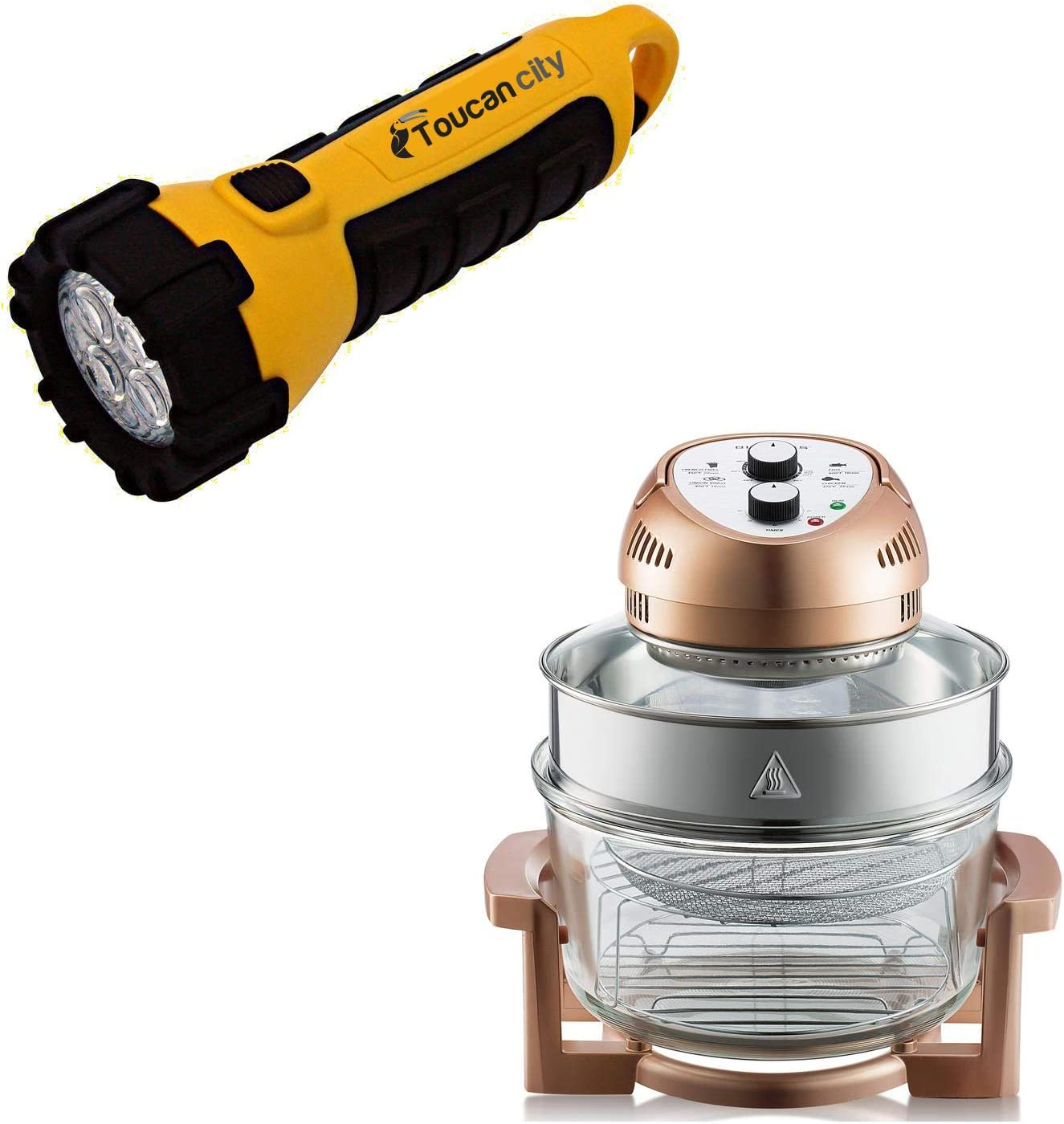 Toucan City LED Flashlight and Big Boss 16 Qt. Copper Oil-less Air r with Built-In Timer 1753
