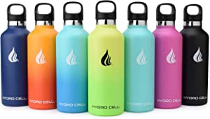 HYDRO CELL Stainless Steel Water Bottle w/Straw & Standard Mouth Lids (32oz 24oz 20oz 16oz) - Keeps Liquids Hot or Cold with Double Wall Vacuum Insulated Sweat Proof Sport Design