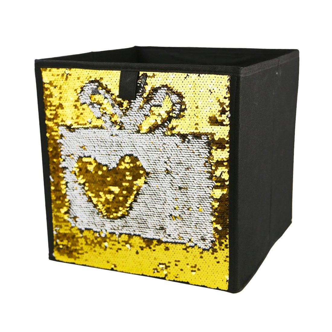 Two Tone Sequins Storage Bins Fabric Foldable Cube Organizer Drawer, 12X12X12 (Blue-sliver) LIFEAGE