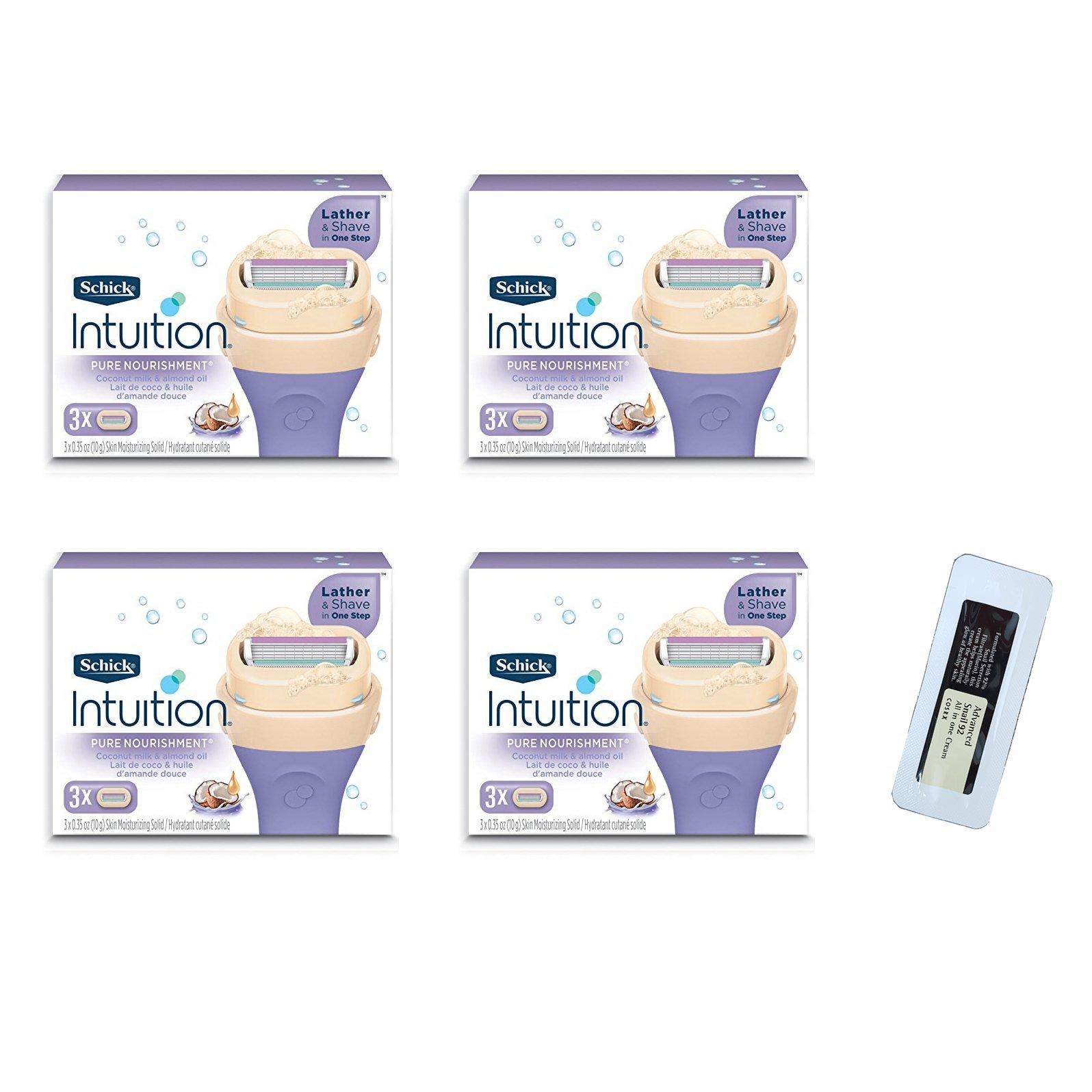 Shick Intuition Pure Nourishment Moisturizing Razor Blade Refills for Women with Coconut Milk & Almond Oil - 12 Count …