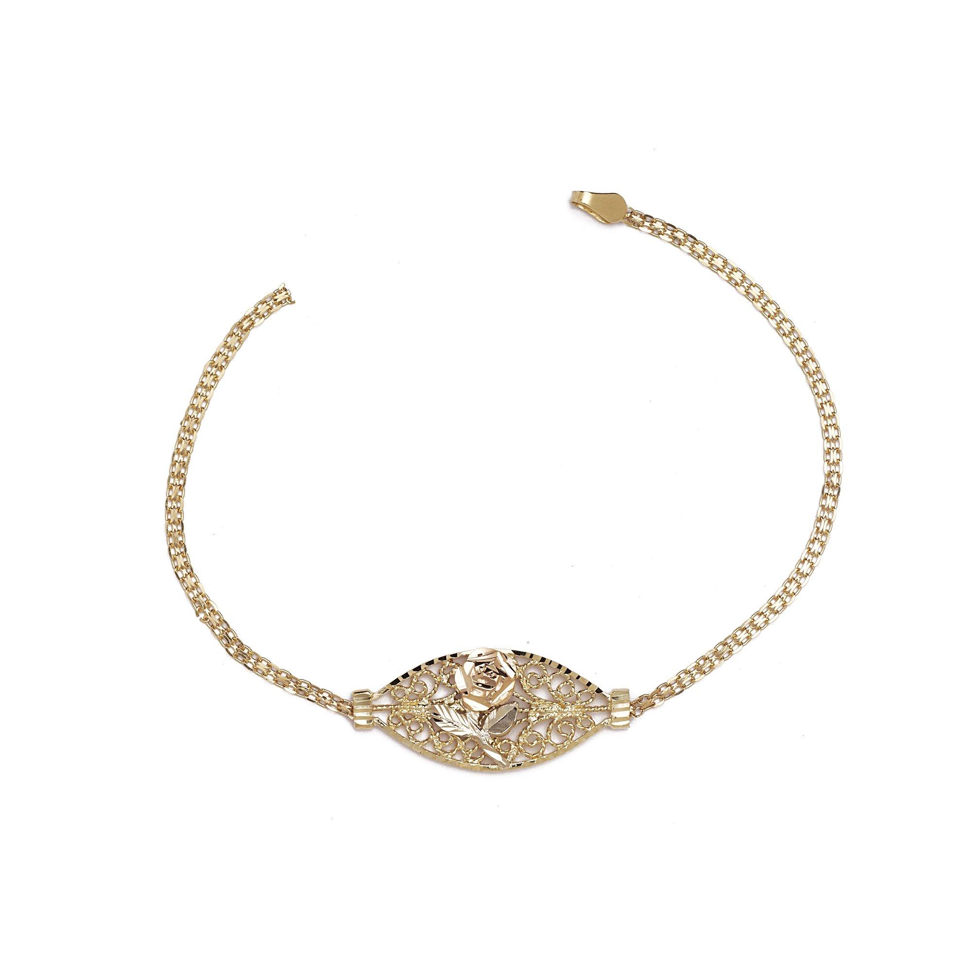 Flower and Rose Fancy Bracelet - 10k Yellow Gold - 7 Inch