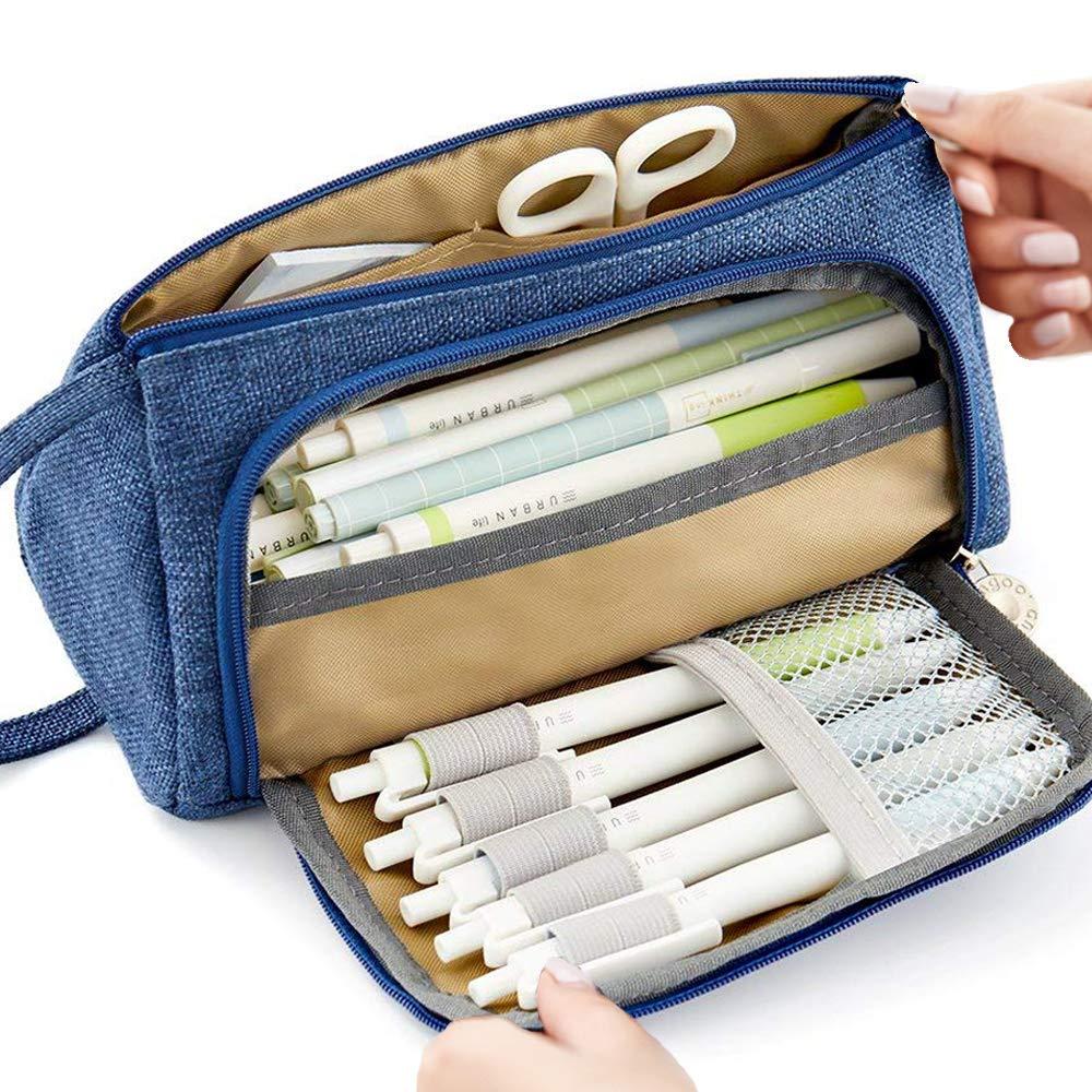 Große Kapazität Federmäppchen Durable School Student Stifthalter Organizer Schreibwaren Make-Up Kosmetiktasche für Mädchen, 20x11cm (Rosa)