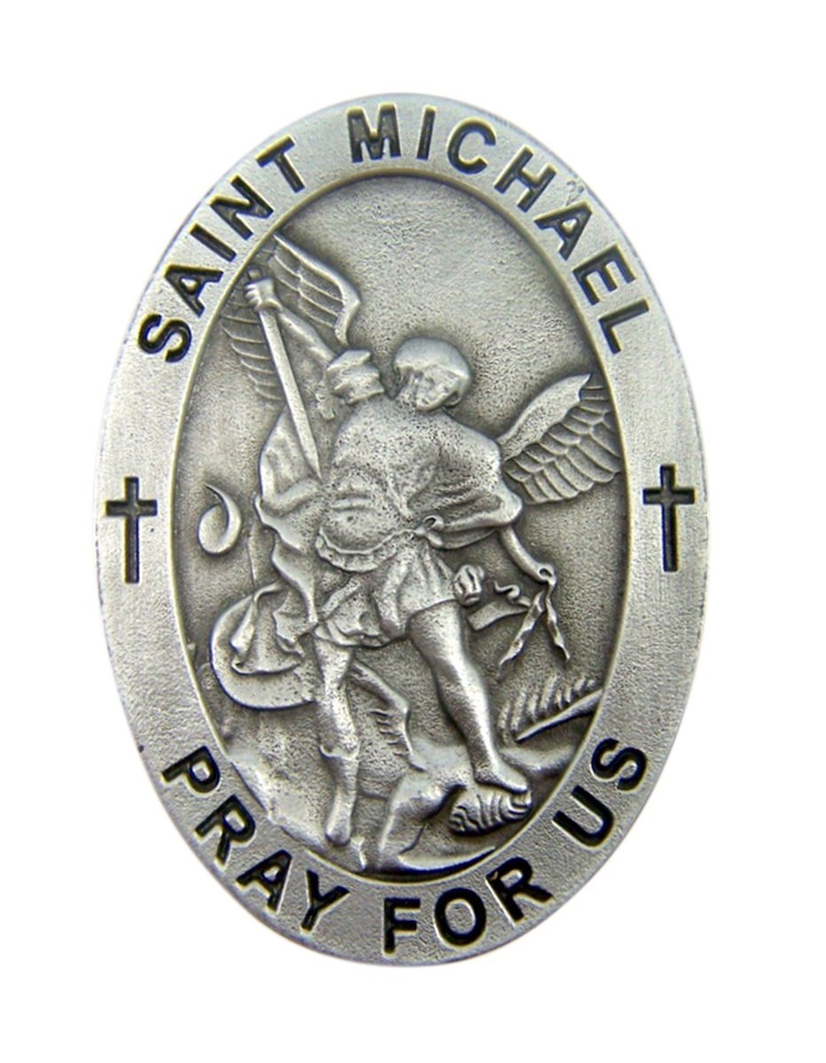 2 Inch Pewter Patron Saint Jude Pray For Us Oval Auto Visor Clip