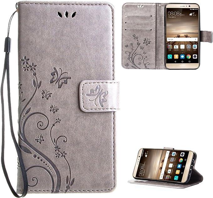 Huawei Mate 9 Funda Gris , Leathlux Libro Suave PU Leather