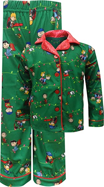 peanuts charlie brown christmas traditional toddler girls pajama for little girls 2t