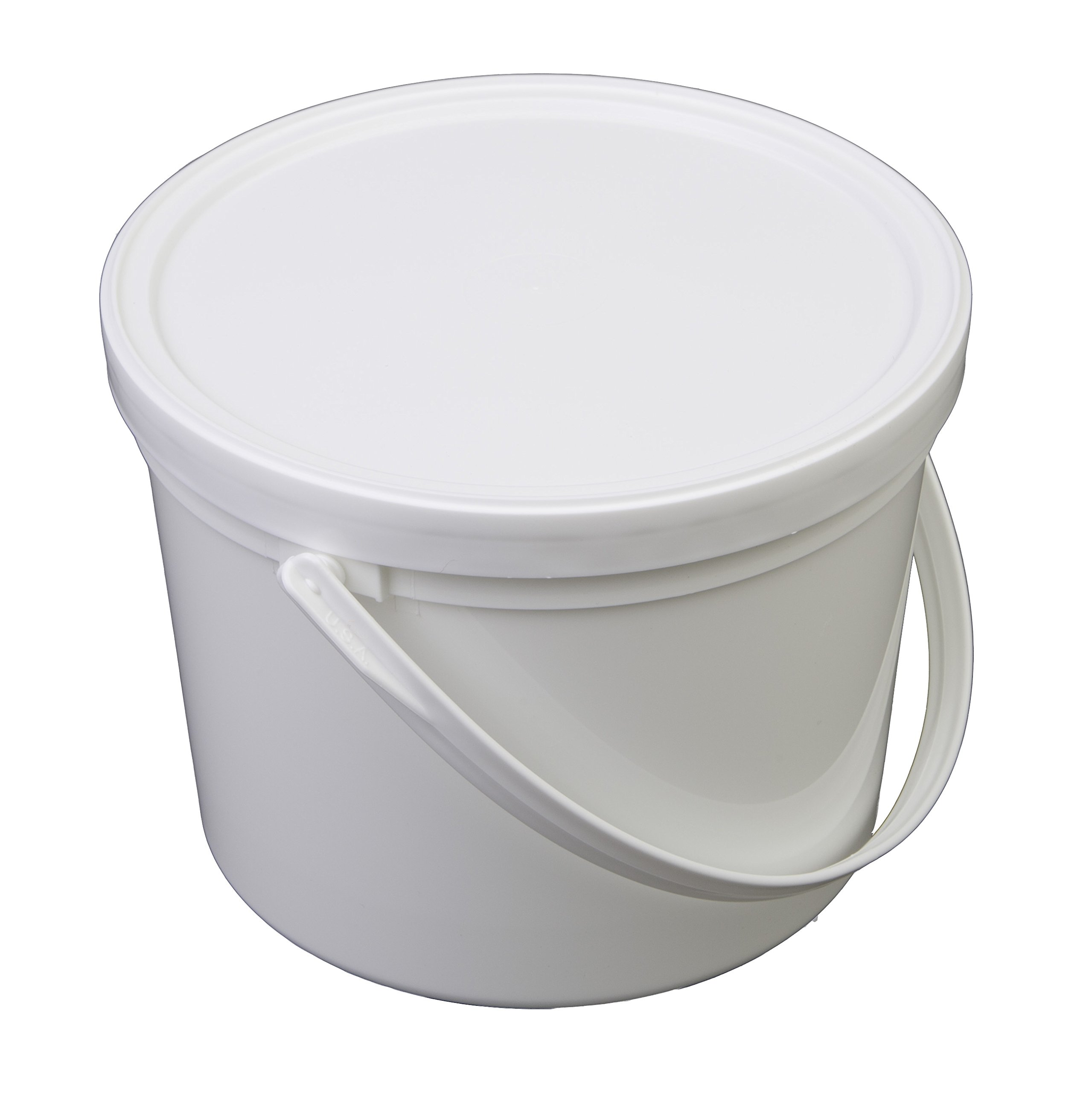 Consolidated Plastics Pail with Handle, Polypropylene, 1.5 Quart, White, 10 Piece