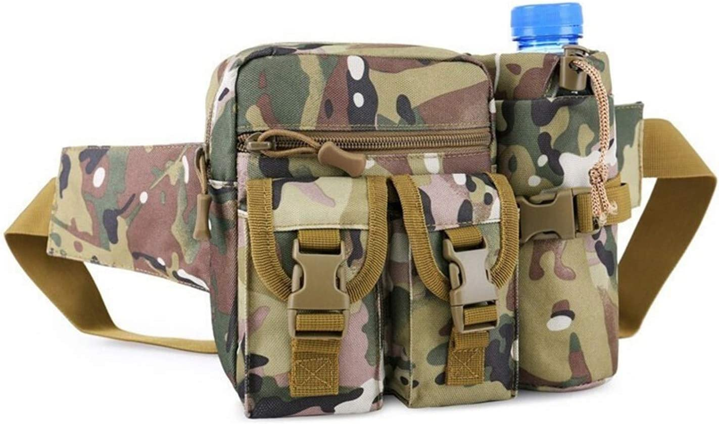 Alwaysprekit Large Capacity Fanny Pack for Men Running Belt Waist Bag with Kettle Package Water Resistant Waist Bag for Daily Life Fishing Cycling Camping Hiking Traveling Camouflage