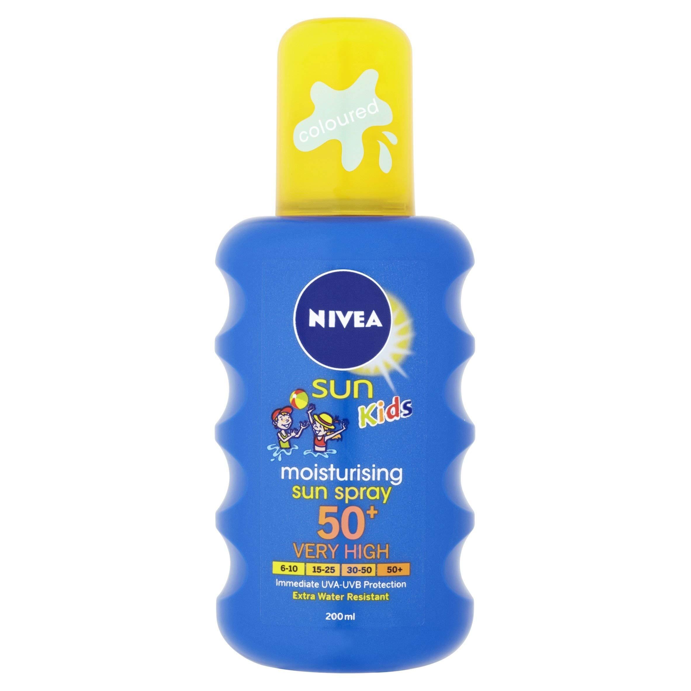 NIVEA SUN Kids Protect & Care Coloured Spray SPF 50+ (200 ml) Sunscreen Spray with SPF 50 Kids Suncream for Sensitive Skin, Immediately Protects Against Sun Exposure