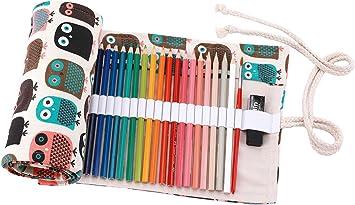 Abaría - Bolso para lápices, Estuche Enrollable para 48 lapices Colores, portalápices de Lona, Bolsa Organizador lápices para Infantil Adulto, Lindo búho 48: Amazon.es: Electrónica
