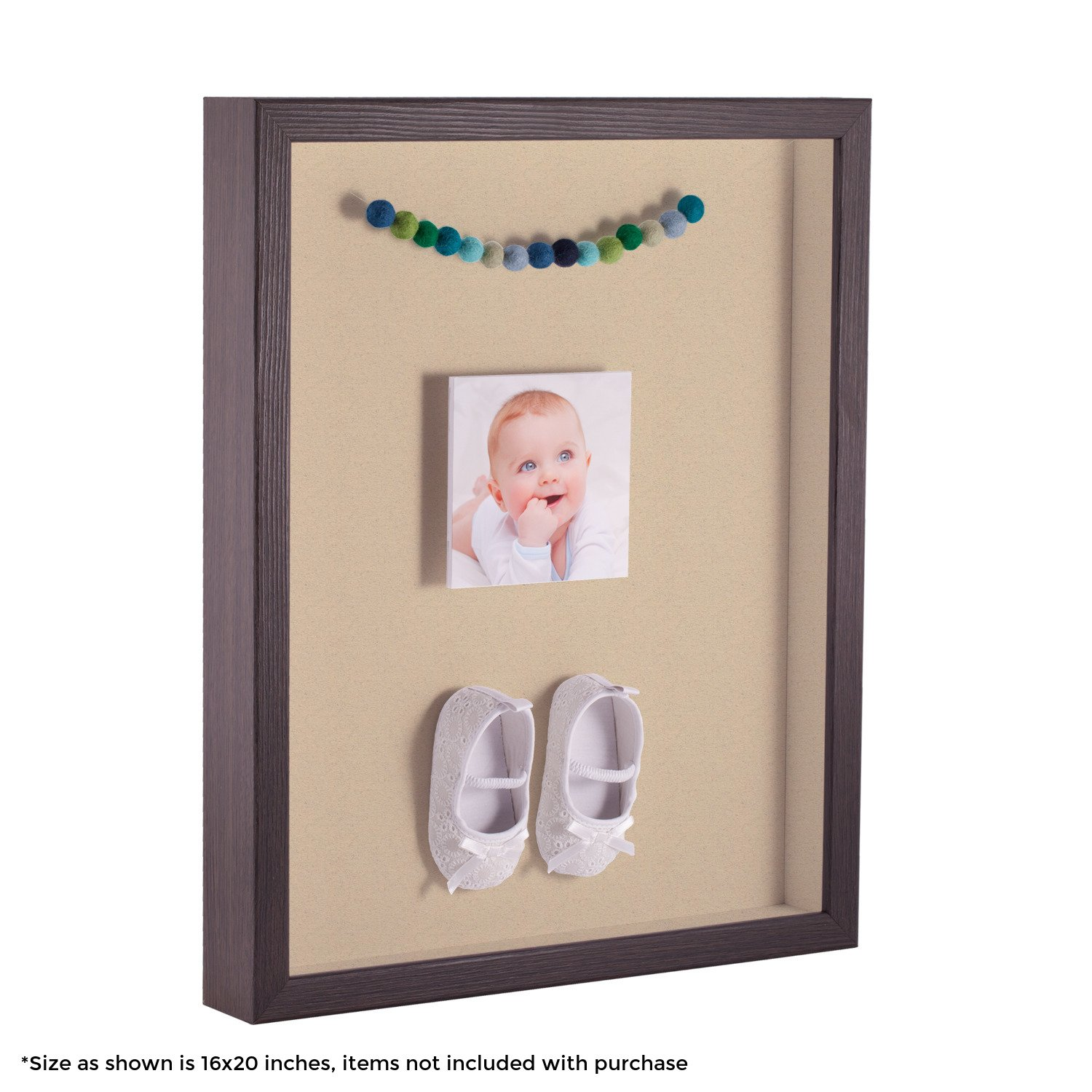 ArtToFrames 12 x 18 Inch Shadow Box Picture Frame, with a Melinga Oak Gray 1'' Shadowbox Frame and Seaside Mat