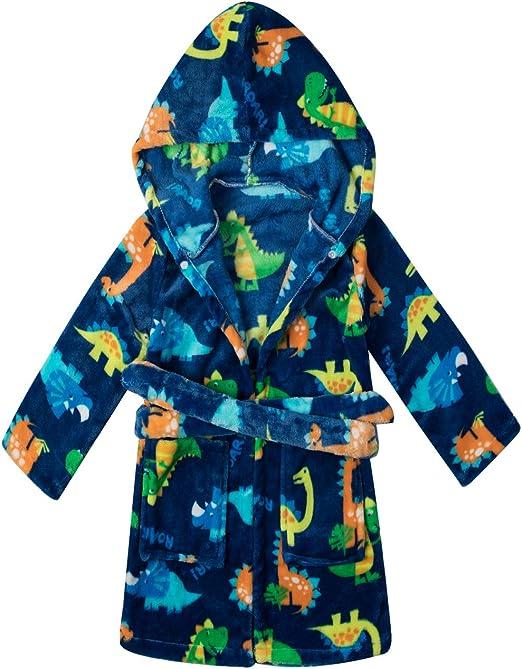 Baby Boys Robe Animal Coral Fleece Bathrobe Unisex Kids Hooded Sleepwear Pjs
